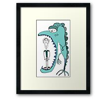 Fish eating guy with a rollers, blue, fish, rollers, scary Framed Print