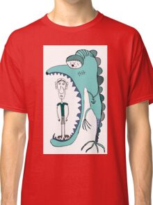 Fish eating guy with a rollers, blue, fish, rollers, scary Classic T-Shirt