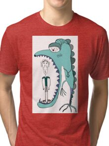 Fish eating guy with a rollers, blue, fish, rollers, scary Tri-blend T-Shirt