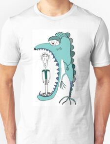 Fish eating guy with a rollers, blue, fish, rollers, scary Unisex T-Shirt