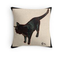 Bombay Black Cat  oil painting No. 1 Throw Pillow