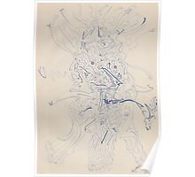 0608 - Abstract Portrait of a Pipe-Smoking Man Poster