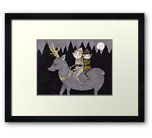 Elves Riding a Reindeer Framed Print