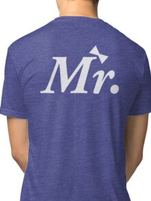 Mr Just Married Honeymoon White Bow Tie Tri-blend T-Shirt