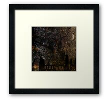 Town and spooky night, dark, night, moon, scary Framed Print