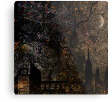 Town and spooky night, dark, night, moon, scary Metal Print
