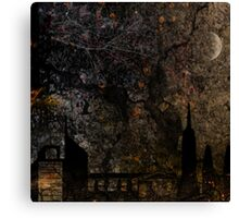 Town and spooky night, dark, night, moon, scary Canvas Print