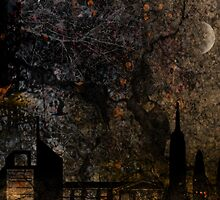 Town and spooky night, dark, night, moon, scary by jblitlemonsters