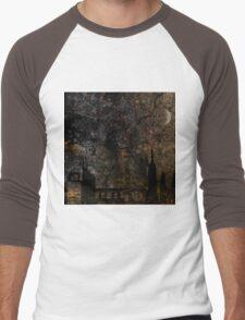 Town and spooky night, dark, night, moon, scary Men's Baseball ¾ T-Shirt
