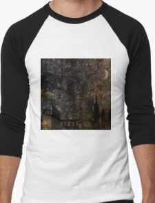 Town and spooky night, dark, night, moon, scary Men's Baseball ¾ T-Shirt