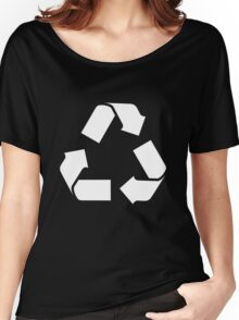 White RECYCLE SYMBOL Women's Relaxed Fit T-Shirt