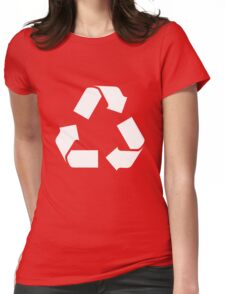 White RECYCLE SYMBOL Womens Fitted T-Shirt