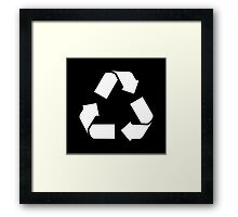 White RECYCLE SYMBOL Framed Print