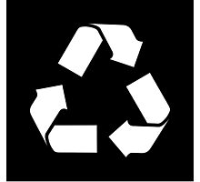White RECYCLE SYMBOL Photographic Print