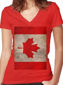 Vintage Canada Flag Women's Fitted V-Neck T-Shirt