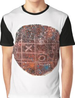 Noughts and crosses on the fish, orange, blue, red, white, black Graphic T-Shirt