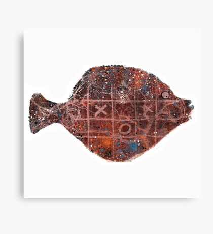 Noughts and crosses on the fish, orange, blue, red, white, black Canvas Print