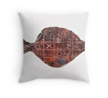 Noughts and crosses on the fish, orange, blue, red, white, black Throw Pillow