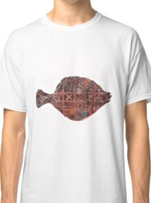 Noughts and crosses on the fish, orange, blue, red, white, black Classic T-Shirt