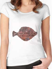 Noughts and crosses on the fish, orange, blue, red, white, black Women's Fitted Scoop T-Shirt