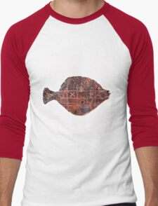 Noughts and crosses on the fish, orange, blue, red, white, black Men's Baseball ¾ T-Shirt