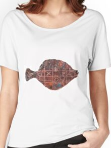Noughts and crosses on the fish, orange, blue, red, white, black Women's Relaxed Fit T-Shirt