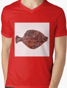 Noughts and crosses on the fish, orange, blue, red, white, black Mens V-Neck T-Shirt