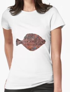 Noughts and crosses on the fish, orange, blue, red, white, black Womens Fitted T-Shirt