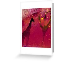 Pink, giraffe, tree, loneliness Greeting Card