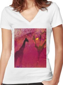 Pink, giraffe, tree, loneliness Women's Fitted V-Neck T-Shirt
