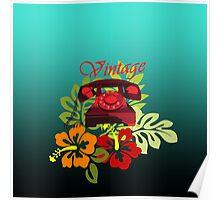 Vintage Phone Floral Poster