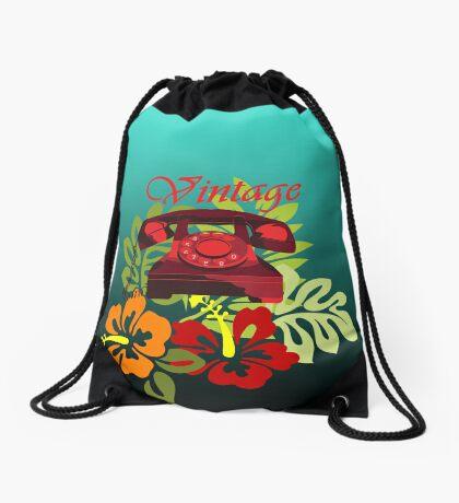 Vintage Phone Floral Drawstring Bag