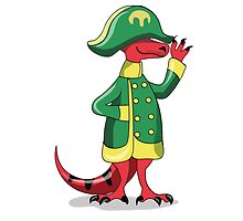 Illustration of a Tyrannosaur Rex dressed as Napoleon. by StocktrekImages
