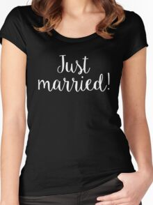 Just Married Simple White Script Pretty Design Women's Fitted Scoop T-Shirt