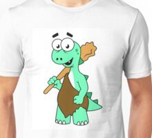 Cartoon illustration of a Tyrannosaurus Rex caveman. Unisex T-Shirt