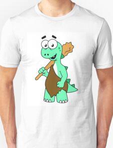 Cartoon illustration of a Tyrannosaurus Rex caveman. T-Shirt