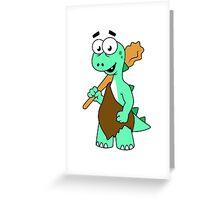 Cartoon illustration of a Tyrannosaurus Rex caveman. Greeting Card
