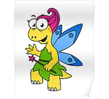 Cartoon illustration of a fairysaur dinosaur. Poster