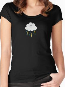 Grumpy cloud with lightnings Women's Fitted Scoop T-Shirt