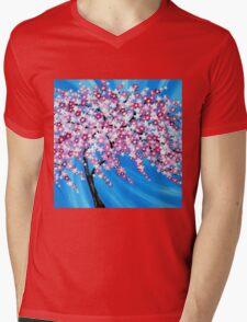 Sakura Cascade Mens V-Neck T-Shirt