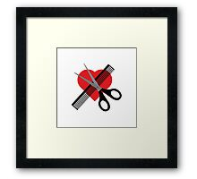 scissors & comb & heart Framed Print