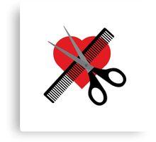 scissors & comb & heart Canvas Print