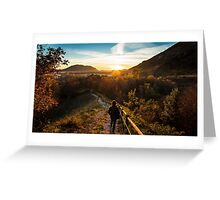 walking down to the sunset Greeting Card