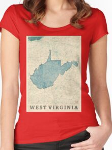 West Virginia State Map Blue Vintage Women's Fitted Scoop T-Shirt