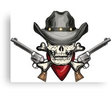 Skull in cowboy hat Canvas Print