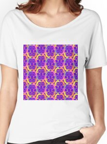 Audrey Yellow Orange Grey Pink Violet Purple Pattern Women's Relaxed Fit T-Shirt