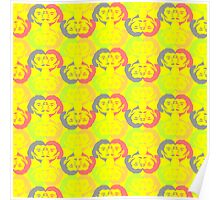 Audrey Lemon Lime Orange Grey Red Yellow Pattern Poster