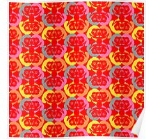 Audrey Yellow Orange Pink Red Grey Pattern Poster