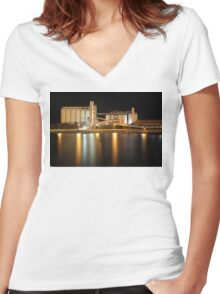 Wallaroo Silo's at Night Women's Fitted V-Neck T-Shirt