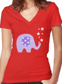 Elephant And Stars Women's Fitted V-Neck T-Shirt